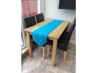Re advertised- dining table and four chairs