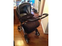 Black Silver Cross Wayfarer Travel System - Includes Pushchair, Carrycot, Car Seat, and Raincovers