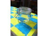 Clear glass mason jar.