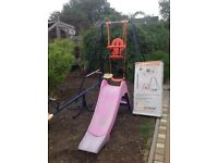 Garden swing with baby seat,slide and seesaw