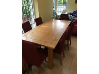 Kitchen Table, Large Pine Dining Room Table and 6 Beautiful Chairs in Plum Red OFFERS WELCOME