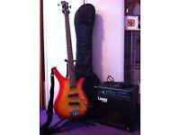 Shine Bass Guitar and Laney Max HCM15B Bass Amp