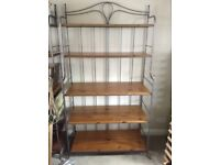 Bakers racks(2). Steel frame with 5 polished pine shelving. 6ft x 3 ft 3 (183 x 100cm).