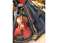 Deep pink violin for sale with case, stand, shoulder rest and resin. Hardly used