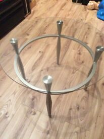 BRAND NEW GLASS & STEEL COFFEE TABLE