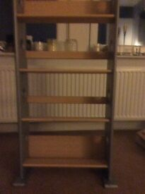 Storage beech and silver slim unit four shelves