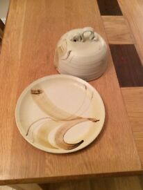 Attractive pottery cheese dish cover and matching plate,excellent condition