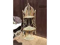 Heavy iron vintage garden corner shelf stand