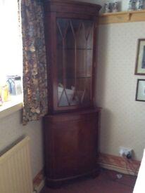 Yew finish corner display cabinet