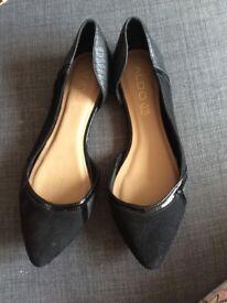 Aldo women flat leather black shoes 39 / 6uk