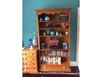 6 Tier Solid Pine Wood Bookshelf With Removable Shelves and Bottom Draw and Panel back