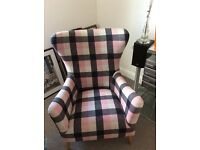 Large checked winged back occasional chair