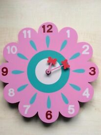 Pink wooden flower clock