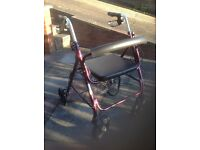 Roller 4 wheeled walker with seat walking frame zimmer walking aid