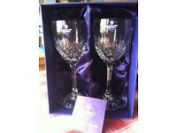 EDINBURGH CRYSTAL 2 x WINE GLASSES TAY RANGE ( IMMACULATE CONDITION ) in original box.