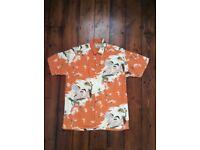 Vintage ( mid 80's) Johnsons McBlue Japanese print shirt size large- 44 chest