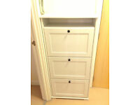 Ikea BRUSALI Shoe cabinet with 3 compartments white