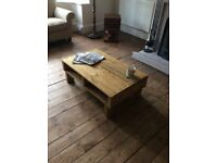Handmade Reclaimed Pallet Wood Coffee Table with shelf