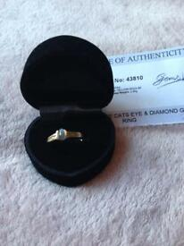 9K Alexandrite Cats Eye & Diamond Gold Ring, bought from Gems T.V