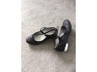 Size 1 sparkly shoes with gems in heels
