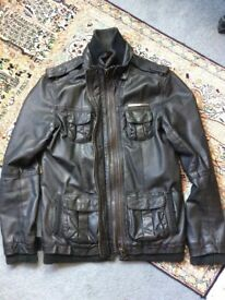 Women's Superdry Black Leather Jacket, Medium (UK 10/12)