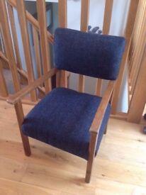 Childrens / kids antique hardwood chair re-upholstered in navy tweed