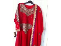 Red and gold embroidered 3 piece suit