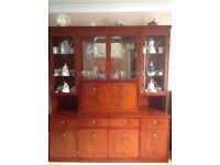Mahogany Dining Room table with 6chairs,display cabinet & bureau