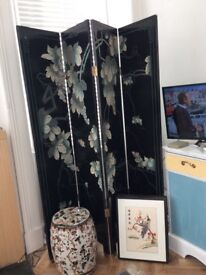 Oriental Screen, silk pictures & Chinese ceramic stool