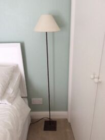 Metal floor lamp with cream lampshade for sale £15
