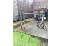 A Pair of Adjustable Steel Builders Trestles and Scaffold planks