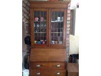antique oak bookcase/bureau stunning piece of furniture