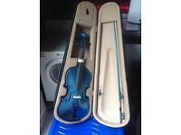 Metallic Blue Violin - inc carry case.