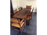 Oak 17th century reproduction refectory table with 6 chairs
