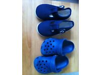 Navy classic Crocs size C4/5 & Jojo Maman Bebe canvas summer shoes size 4