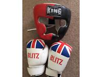 Boxing sparring gloves and head guard