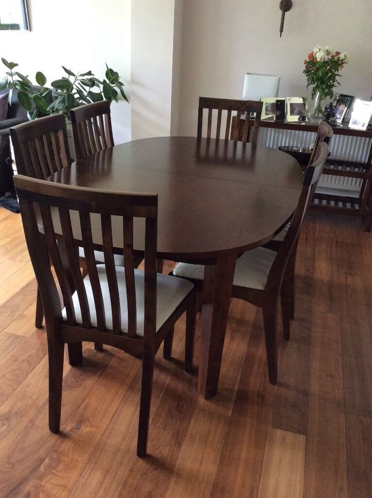 Laura Ashley Garrat Chestnut Oval Extending Dining Table And Six Chairs