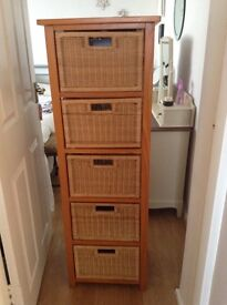 Two chest drawers pine frame with wicker basket