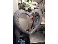 """Silver glitter heart shape mirror 26"""" x 23"""""""