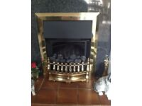 Electric fire insert with brass surround.
