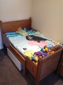 Toddler Bed, Wardrobe and Chest of Drawers.