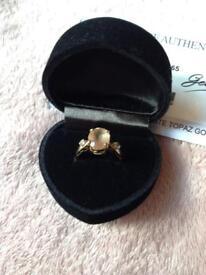 9K Tibetan Sunstone & White Topaz Gold Ring, bought from Gems T.V