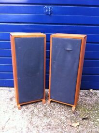 "A pair of floor standing cabinet maker produced speaker cabinets with 15"" speakers"