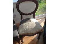 Two antique balloon backed dining chairs. Horse hair filled. Upholstery project