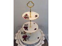 Pretty Rose Design 3 Tier Cake Stand