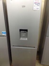 Beko fridge freezer. Silver 173cm tall. Water dispenser. 12 month Gtee