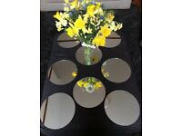 Mirrors. Eight 20cm circular mirrors. Suitable for table centrepiece.