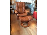 Stressless recliner chair and footstool