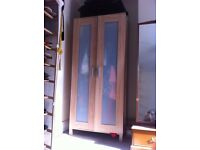 2 x matching bedroom wardrobes, light brown woode, perfect condition