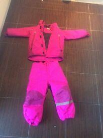 Striking girls pink two piece snowsuit age 4-5